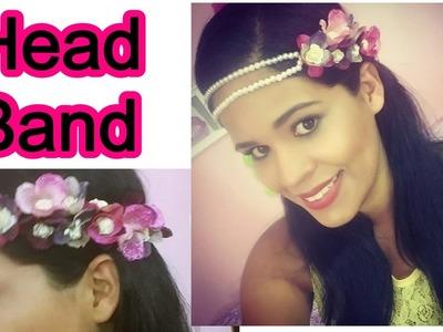 DIY   Tiara de flores com pérolas   Head Band.