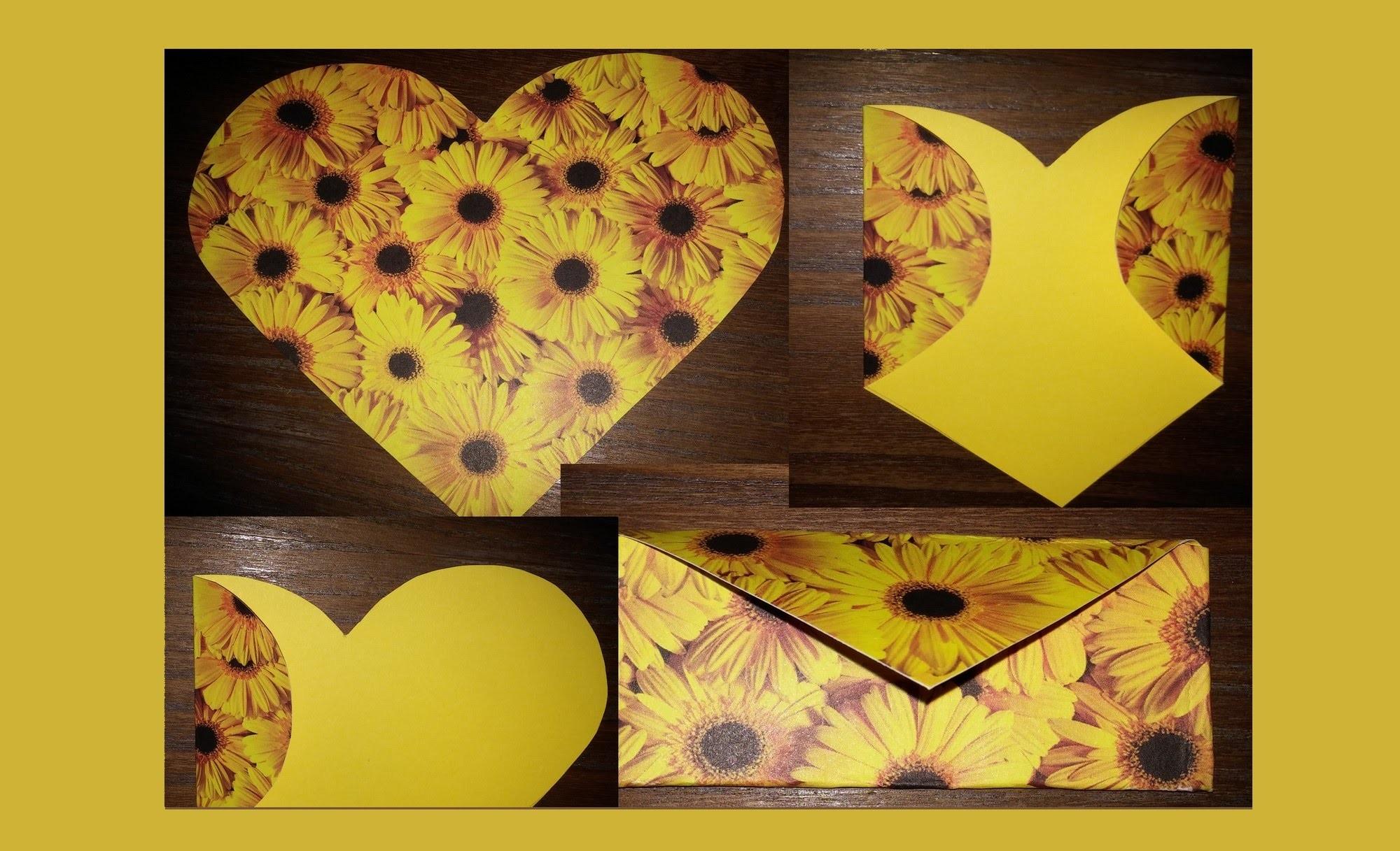 Carta.envelope feito de coração - DIY- Envelope made of paper heart!