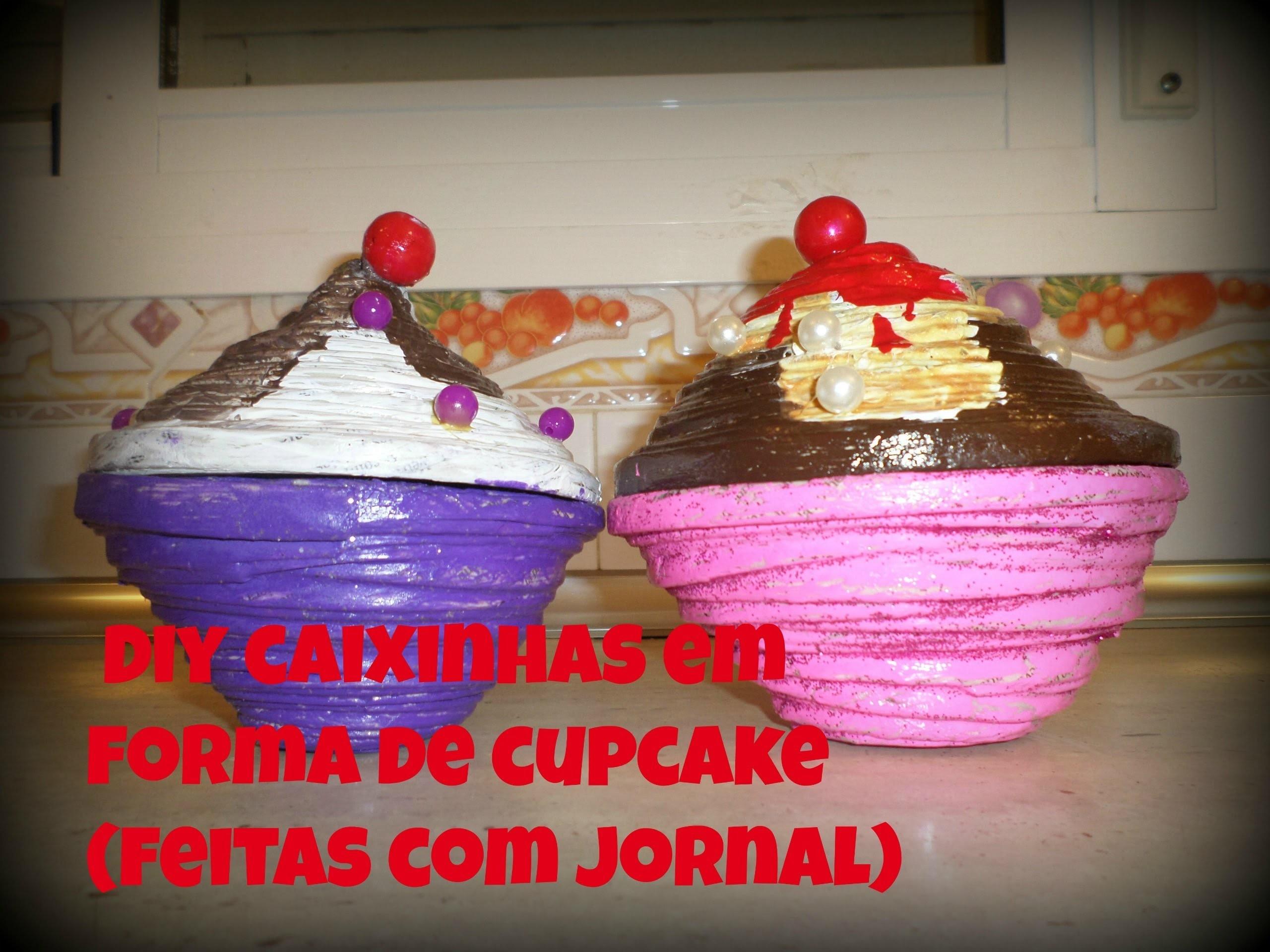 Diy caixinhas em forma de cupcake( feitas com jornal )