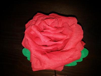 Rosa gigante de papel crepom - DIY - Giant rose crepe paper