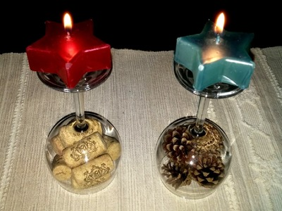 Centros de mesa com rolhas e pinhas, super fácil! - DIY - Centerpieces with corks and pine cones