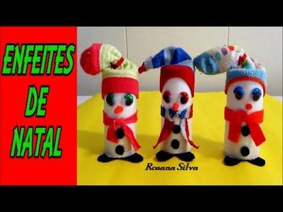 DIY ENFEITES de NATAL BONECOS de NEVE de ROLINHOS Papel. H.