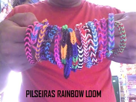 Como fazer pulseiras de elástico - Rainbow loom