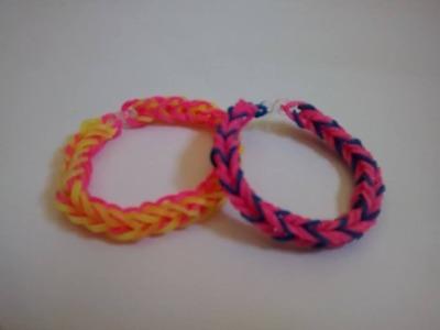 ♥ Tutorial Como Fazer  Pulseiras de Elásticos Rainbow Loom para iniciantes ( sem tear ) ♥