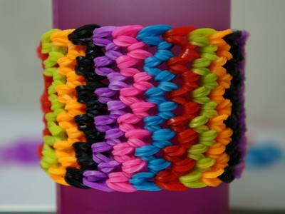 Como Fazer Pulseira de Elástico Escama de Dragão Dragon Scale LoomBands Rainbow Loom