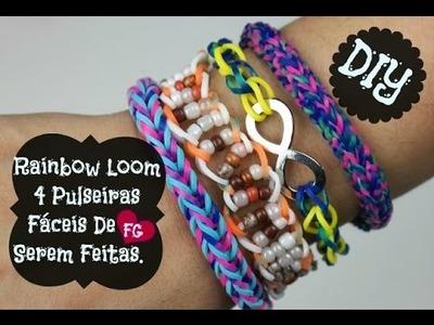 Rainbow Loom! DIY 4 Pulseiras Fáceis De Serem Feitas :)