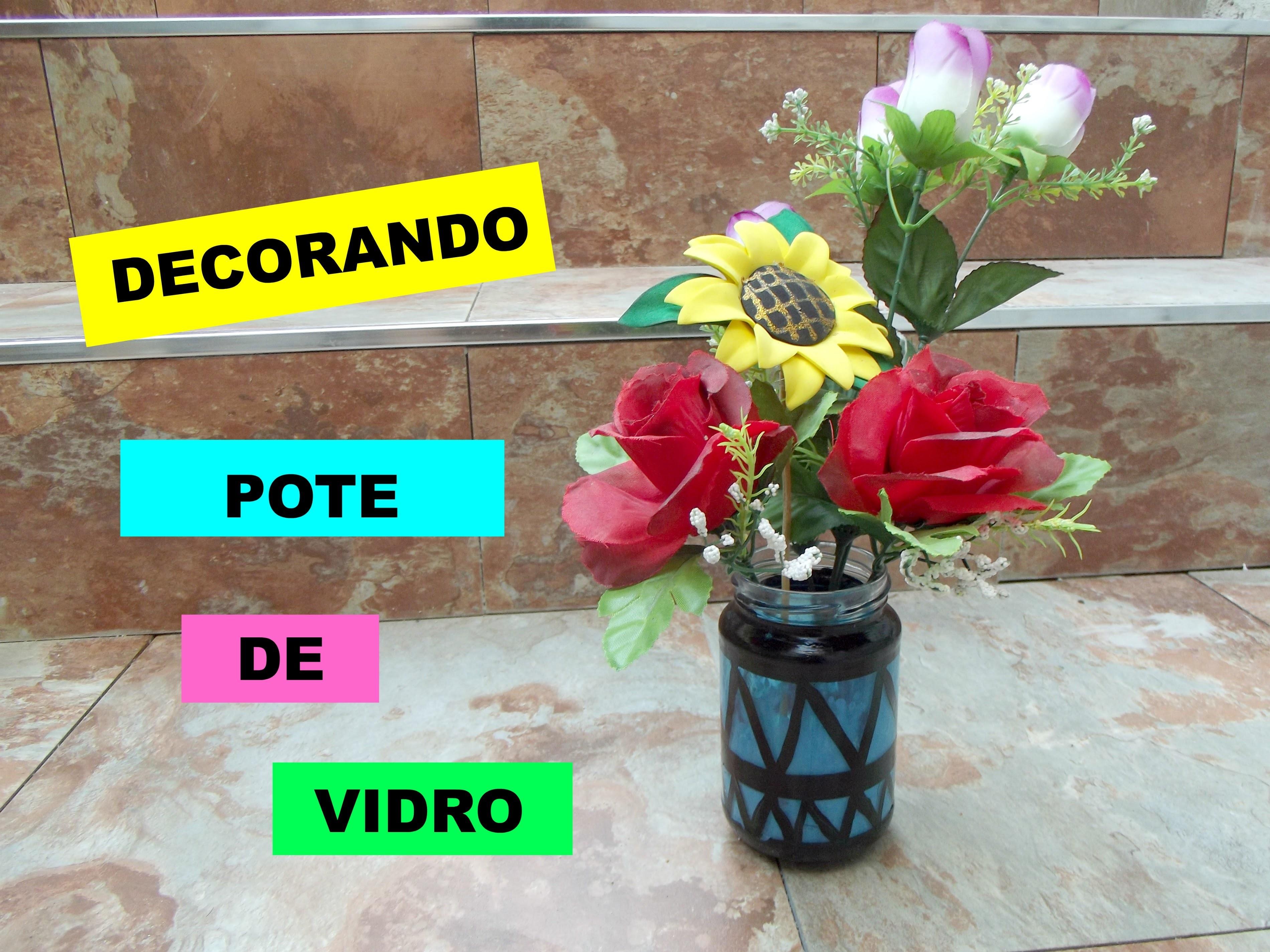 DIY: Decorando pote de vidro. Decorating glass jar ❤