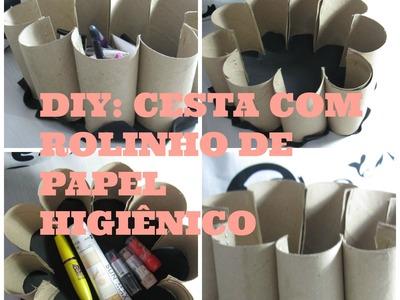 DIY: CESTA COM ROLINHO DE PAPEL HIGIÊNICO!!! Por Amanda Garcia