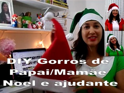 DIY 2 gorros Papai.Mamãe Noel e do ajudante - DIY christmas costume