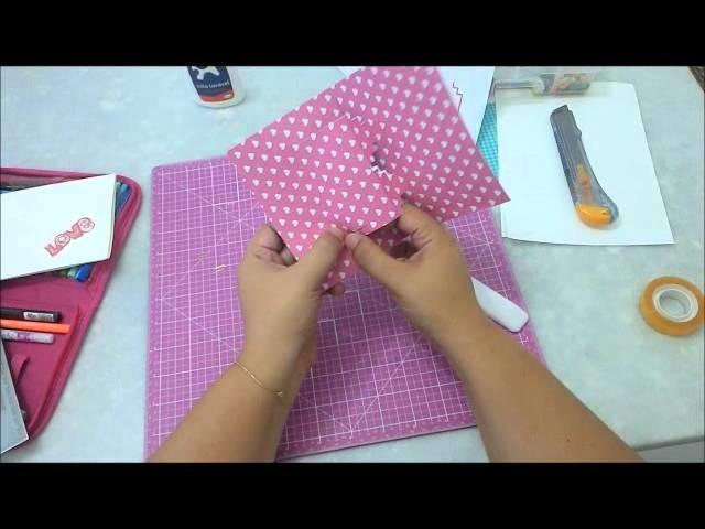 Cartão pop up de coração - DIY kirigami card