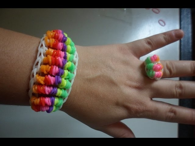 ♥  Como fazer Pulseira de elástico  Candy Twist Six passo a passo   Rainbow Loom  (com tear) ♥