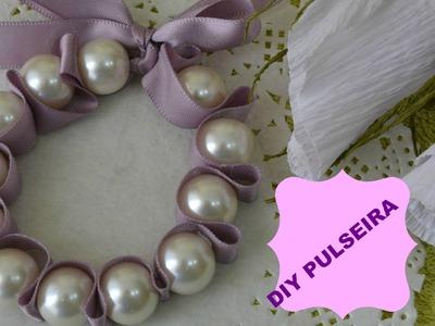 Como fazer pulseiras romanticas com perolas e fitas de cetim