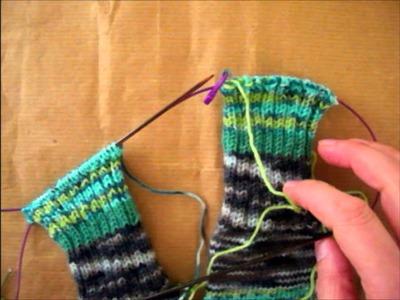 Duas meias ao mesmo tempo, remate cosido, tutorial tricot