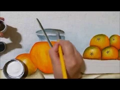 Pintando laranjas e jarra com suco (transparência)