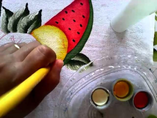 Pintura em tecido laranja
