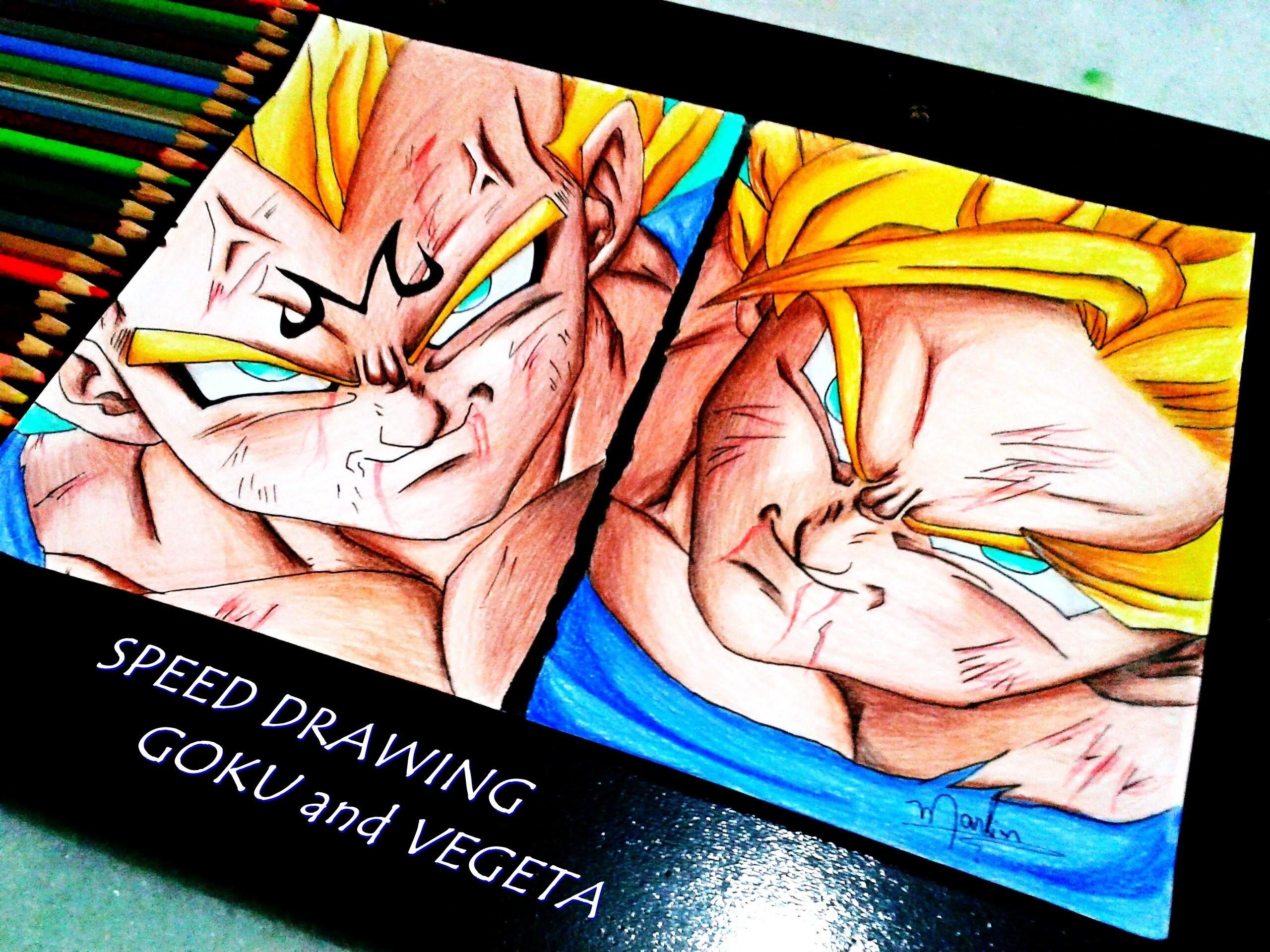 Speed Drawing - Goku and Majin Vegeta (Dragon Ball Z)