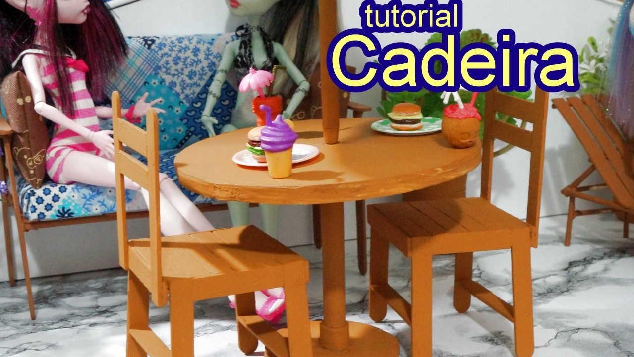Como fazer uma cadeira com palito de picolé para boneca Barbie, Monster High, Frozen e outras