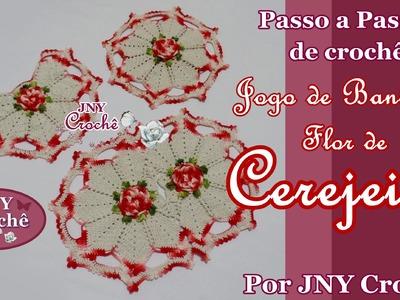 PAP Tapete de crochê Jogo de Banheiro Flor de Cerejeira por JNY Crochê