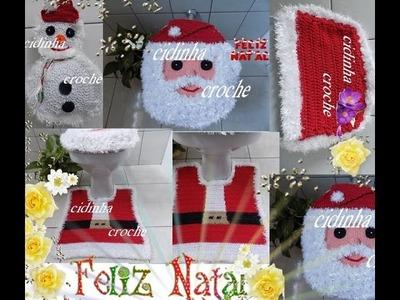 Croche- Jogo Banheiro Papai Noel- Tapete Do Vaso- Tutorial Completo