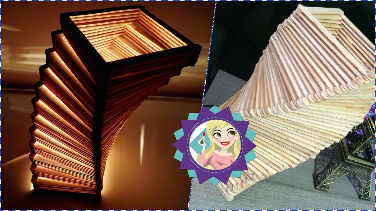 DIY Como fazer Luminária de Palito de Picolé.Sorvete Faça você mesmo|Tatiane Xavier