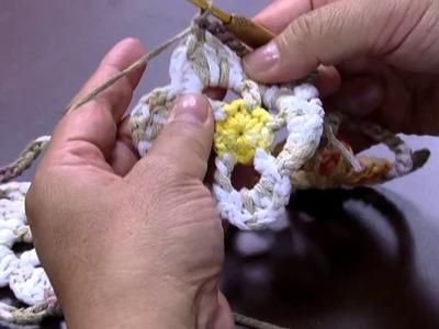 Mulher.com 30.04.2015 Cristina Luriko - Quadro de flores de crochê Parte 2.2