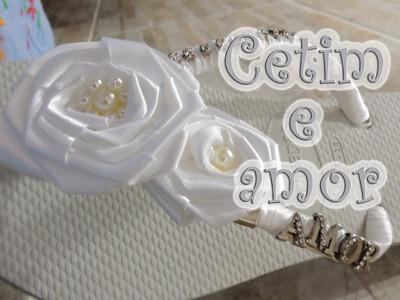 Chinelo decorado - Flor de cetim e strass para noivas