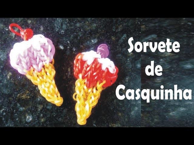 Como fazer um sorvete de casquinha com elásticos coloridos rainbow loom