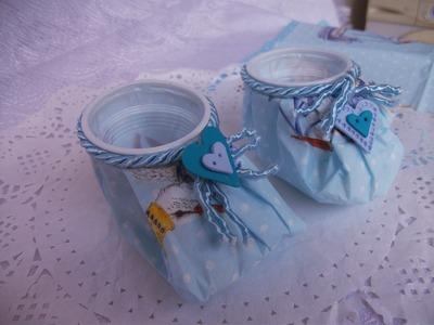 DIY: Baby shoes gifts, sapatinho de copinho descartavel lembrancinhas.♥