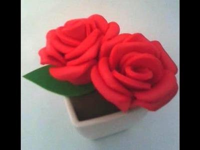 Rosas em EVA, passo a passo de como fazer.