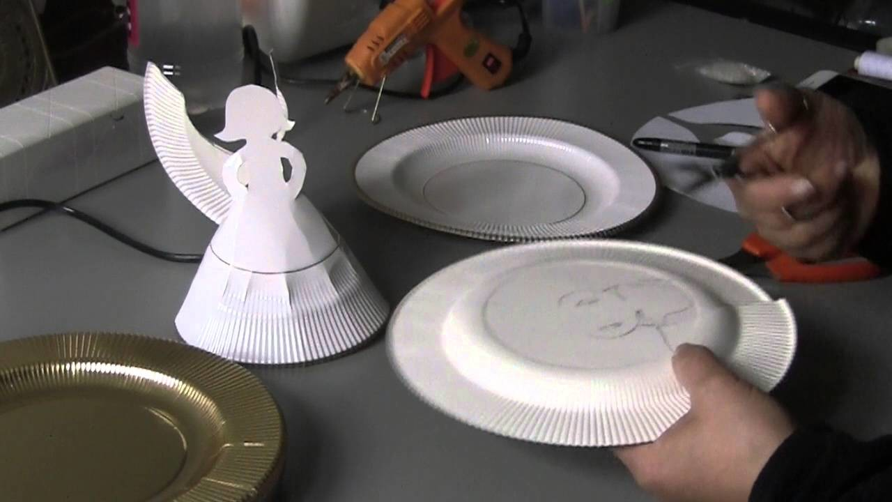 ESPECIAL NATAL- Anjo de pratos descartavel de papel Passo a Passo