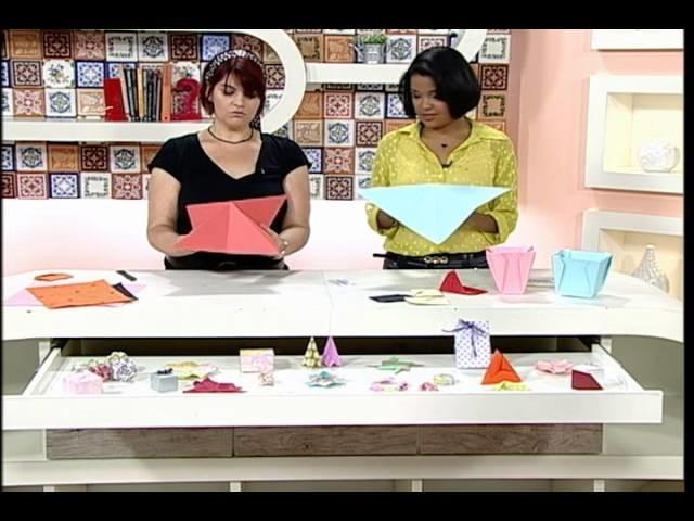 Artesanato - Porta-cartão e vaso em origami