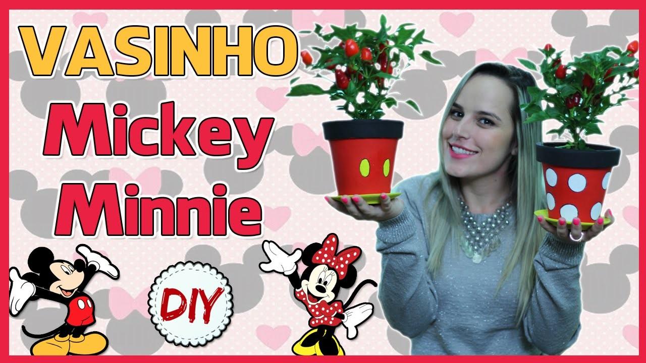 DIY: Vaso de Planta Mickey e Minnie ♥ por Coisas de Jessika