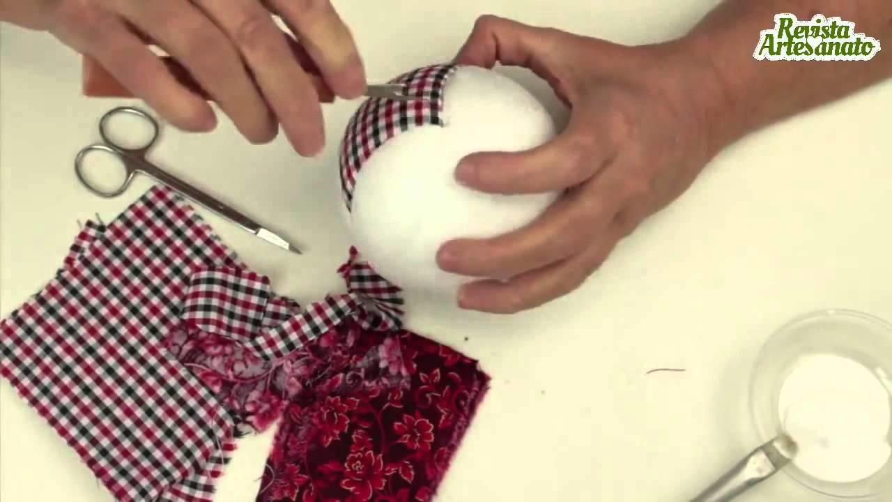 Como Fazer Bola de Natal com Patchwork Embutido   Artesanato