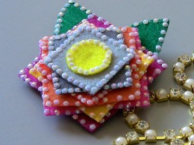 D.I.Y.   Flor com quadrados em feltro  - Fabric flower tutorial