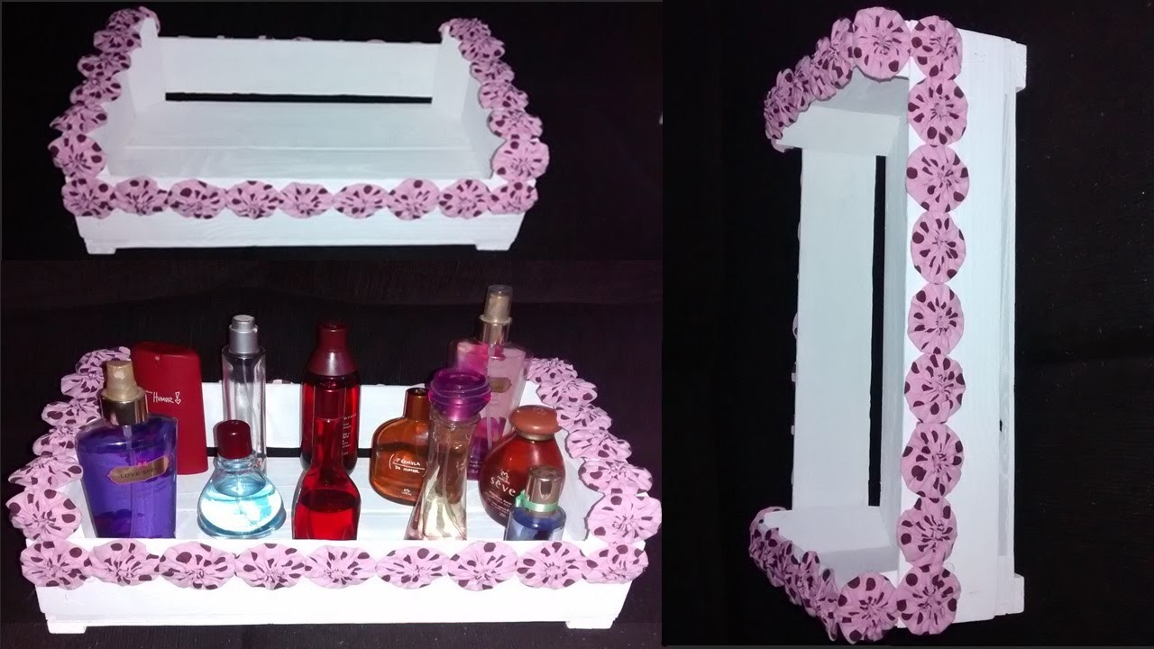 DIY- Faça você mesma: Organizador de perfumes usando caixote de feira!