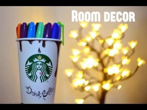 DIY: Copo decorado Starbucks. porta canetas