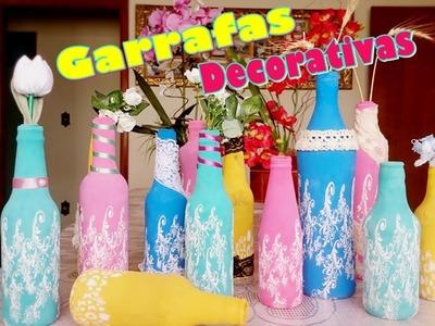 DIY Garrafas Decorativas - super fáceis com bixiga | LetíciaDIY