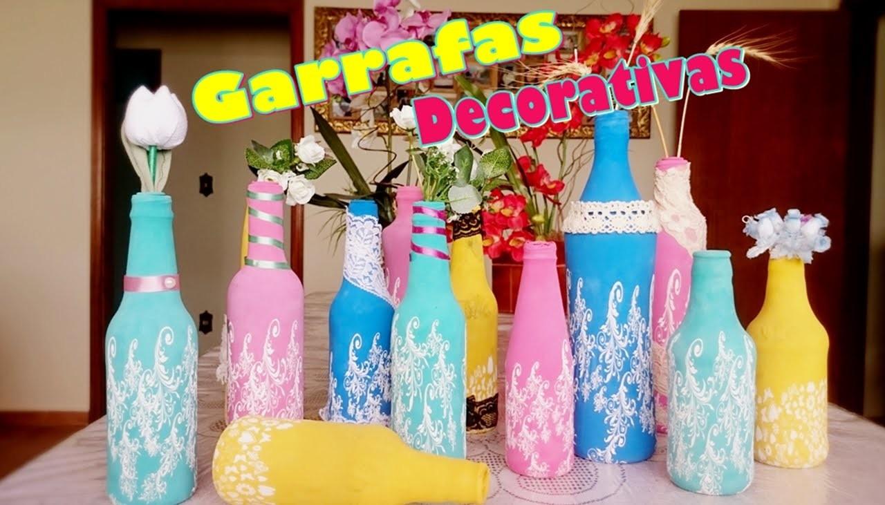 DIY Garrafas Decorativas - super fáceis com bixiga   LetíciaDIY