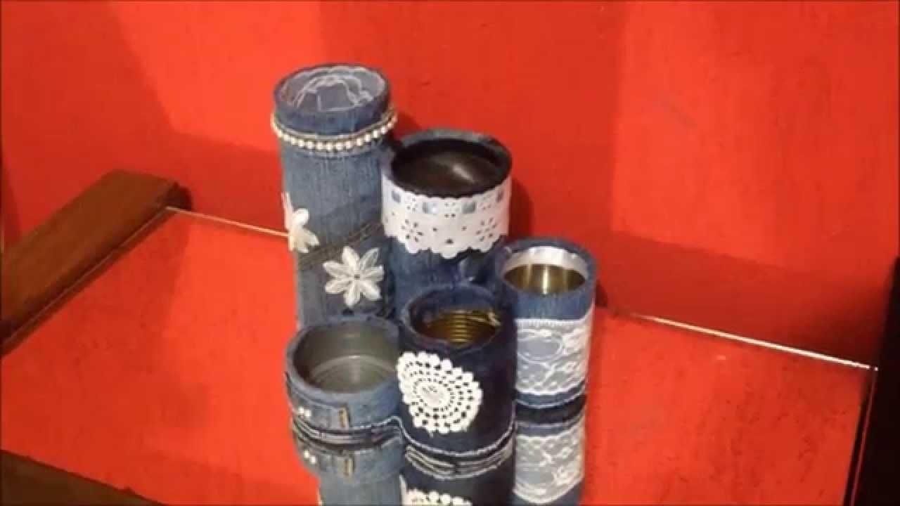 Porta treco de latas e jeans Artesanato para decoração