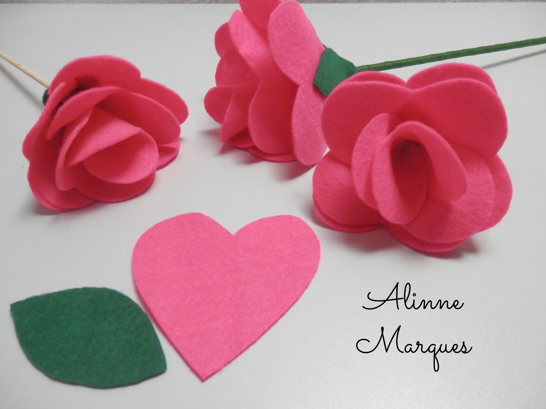 Rosa de feltro #7 - Pétala de coração - Artesanato - Passo a passo