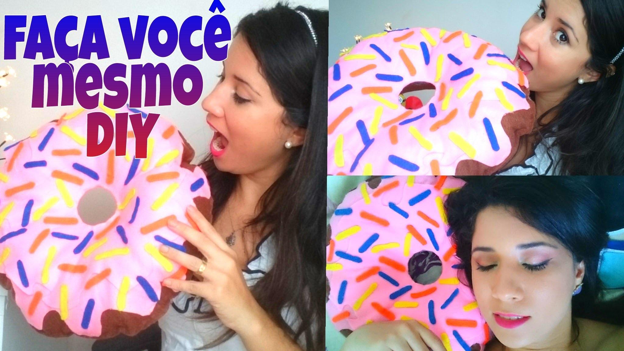 Como fiz minha almofada de rosquinha. donut SEM COSTURA - DIY (faça você mesma)