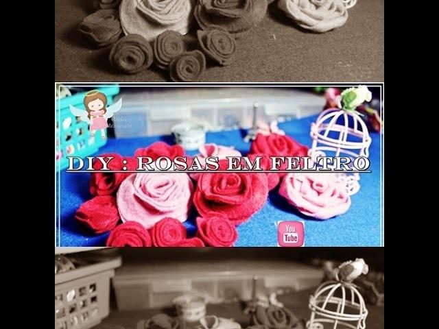 DIY Rosas em Feltro #2. Fácil e Rápido - Roses Felt Pap