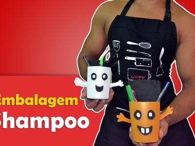 DIY: Porta lápis de shampoo - Faça VC Mesmo - Artesanato