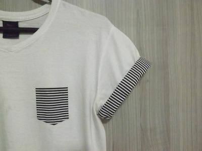 DIY: Como fazer bolso de camisa. Pocket Tee (sem costura)