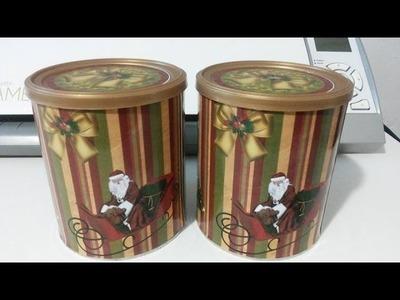 Diy- Reciclagem com latas de leite para o natal, faça lindas latas para panetones caseiro