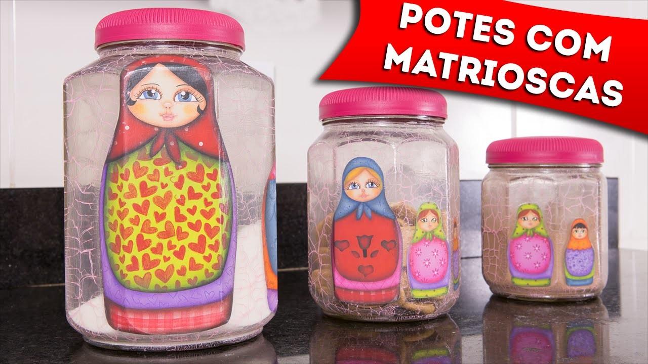 DIY: Colagem de Papel em Potes de Vidro - Artesanato Com Decoupage e Craquelê - Faça Você Mesmo