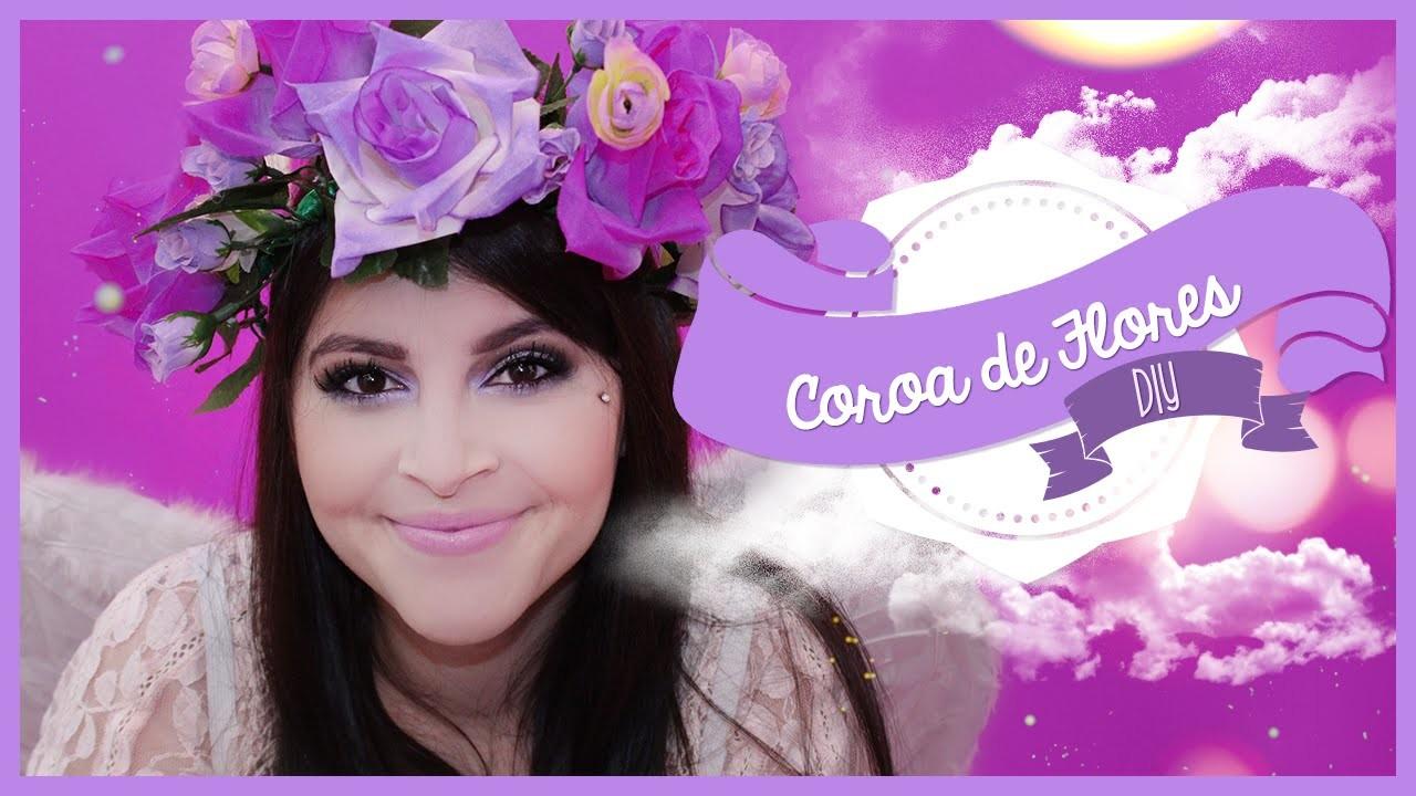 DIY COROA DE FLORES - Como Fazer | Flower Crown @Sehziinha