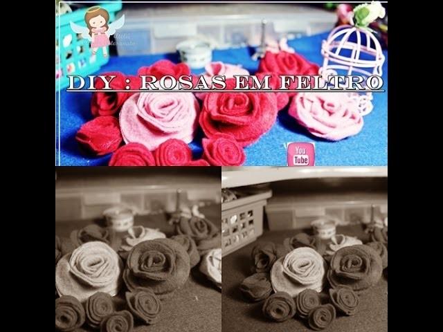 DIY- Rosas Lindas em Feltro #1.Fácil e Rápida - Rose Felt Pap