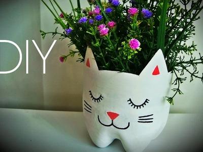 ♥ DIY: Como Fazer Vaso de Plantas Gatinho ♥ (Artesanato e Reciclagem Garrafa Pet)
