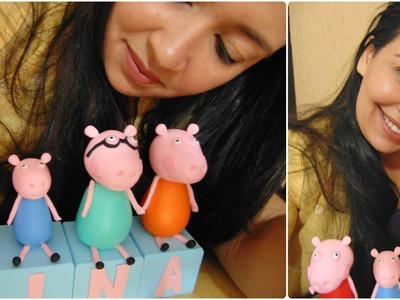 DIY.faça você mesmo:Cubos Personalizados Com Nome E Personagens Em Biscuit  Peppa Pig
